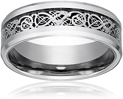 Mens Dragon Wedding Ring Sets Celtic Welsh
