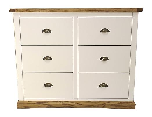 Cabinet bit 3Plus a cassetti con maniglia in ottone/smussata, gonna, legno, bianco