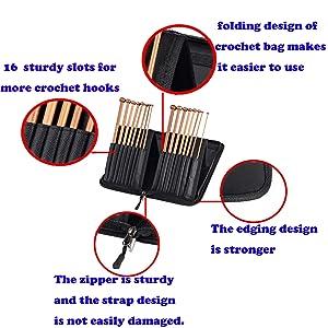 Travel Needles Cases Bag for Afghan Tunisian Crochet Hooks, Bamboo Knitting Needles Organizer Holder with Large Capacity (Color: crochet hooks bag)