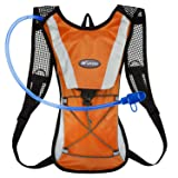 KUYOU Hydration Pack Water Rucksack Backpack Bladder Bag Cycling Bicycle Bike/Hiking Climbing Pouch + 2L Hydration Bladder,(Orange+Water Pouch) (Color: Orange)