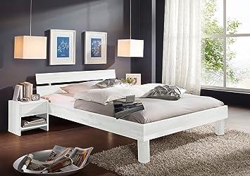 SAM® Massivholzbett Columbia, Bett aus Kernbuche geölt, weiß, geteiltes Kopfteil, 180 x 200 cm