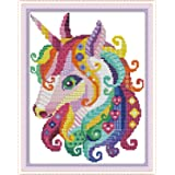 Cross Stitch Stamped Kits Pre-Printed Cross-Stitching Starter Patterns for Beginner Kids or Adults, Embroidery Needlepoint Kits Unicorn in Garden (Color: Stamped 8.8x11.5 inch, Tamaño: 11x15.4 inch)