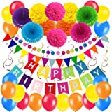 Zerodeco Birthday Decoration Set, Happy Birthday Banner Bunting with 4 Paper Fans Tissue 6 Paper Pom Poms Flower 10 Hanging Swirl and 20 Balloon for Birthday Party Decorations - Multicoloured (Color: Multicolored)