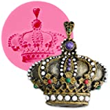 Funshowcase Royal Crown Fondant Candy Silicone Mold for Sugarcraft, Cake Decoration, Cupcake Topper, Chocolate, Pastry, Cookie Decor, Jewelry, Polymer Clay, Epoxy Resin, Crafting Projects #1285 (Color: 1285 Crown With Diamonds)