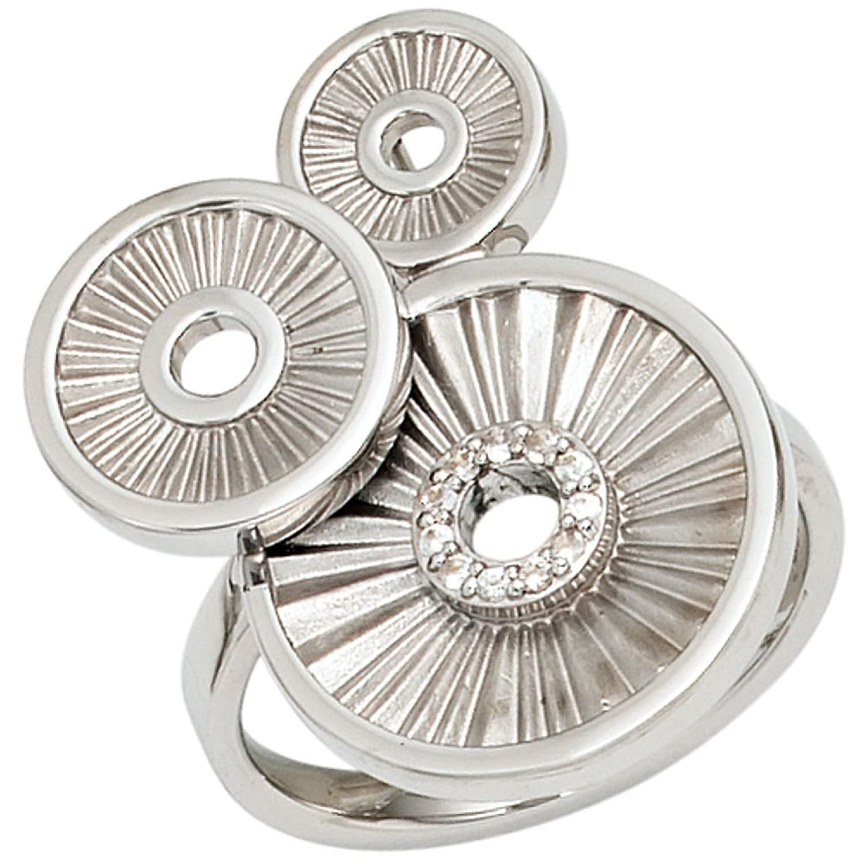 Damen-Ring 925 Sterling Silber 11 weiße Safire kaufen