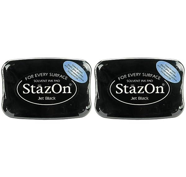 Tsukineko SZ000031 Full-Size StazOn Multi-Surface Inkpad, Jet Black (2-(Pack)) (Tamaño: 2-(Pack))