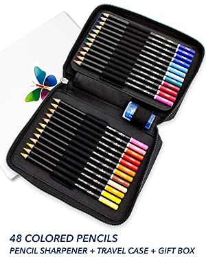 ColorIt Premium Colored Pencils for Adults Set of 48 - Includes Colored Pencils, Travel Case, Pencil Sharpener, and Gift Box - Perfect Coloring Pencils for Adult Coloring Books (Tamaño: Set Of 48)