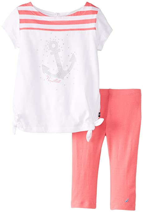 Nautica Baby-Girls Infant Side Tie Knit Top and Capri Legging Set, Rose, 24 Months