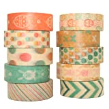 Wahi Tape Set Easter 10 Rolls Decorative Duct Tape Holiday Craft Decorative Set 0.6