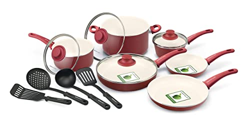 GreenLife 14 Piece Nonstick Ceramic Cookware Set with Soft Grip