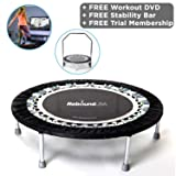 MaXimus Pro Gym Rebounder Mini Trampoline with handle bar. Package Includes Great Compilation Rebound DVD, & 3 MONTHS FREE VIDEO MEMBERSHIP! 150kg user weight. (Color: BLACK, Tamaño: 40 INCH FITNESS REBOUNDER)