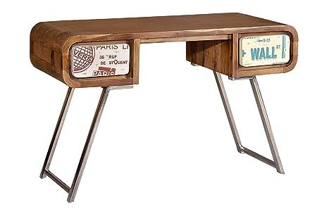 Table Bureau vintage en bois de palissandre et pied en acier. medidas77x 120x 50