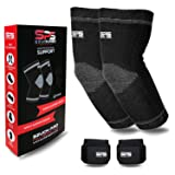 Szuch Pro Elbow Sleeves Support & Adjustable Wrist Supports for Workouts Weightlifting and Golfer's Elbow Tendonitis -Tennis Brace -Arm Compression Sleeve by Sports (Color: Black, Tamaño: Medium/9.5-10.6