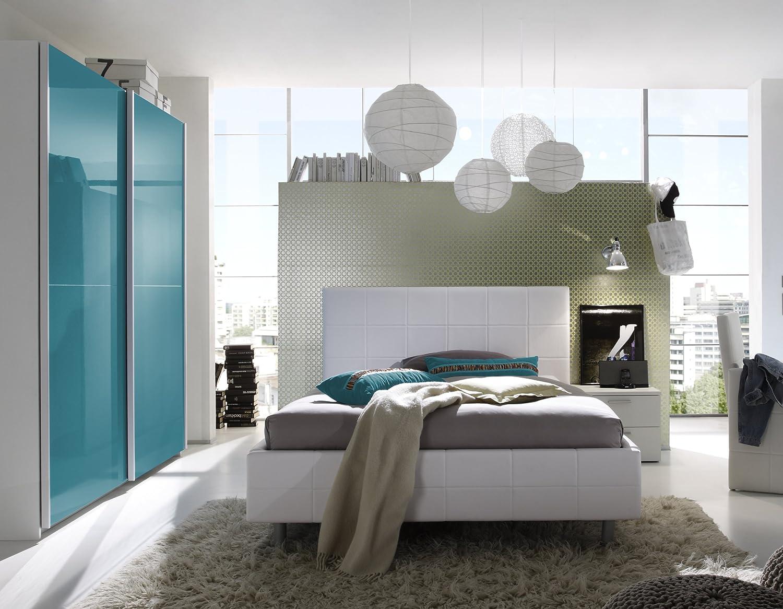 Jugendzimmer mit Bett 140 x 200 cm weiss/ türkis günstig bestellen