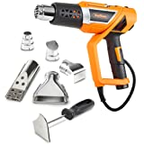 VonHaus 1500W Heat Gun Variable Temperature 122?~1112? (50?~600?) with Adjustable Handle and Five Nozzle Accessories for Lighting BBQ Grills, Shrinking PVC, Removing Paint, Bending Pipes