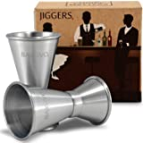 Double Jigger Set by Barvivo - Measure Liquor with Confidence Like a Professional Bartender - These Stainless Steel Cocktail Jiggers Holds 0.5oz / 1oz - The Perfect Addition to Your Home Bar Tools. (Color: Silver, Tamaño: 1 Pack)