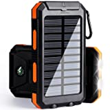 Develtech Solar Charger, Solar Power Bank, 10000 mAh Portable Power Bank Solar Battery Charger Dual Usb Waterproof with 2 Led Light Flashlight Carabiner and Compass For iphone, ipad, Samsung (Orange) (Color: Orange)