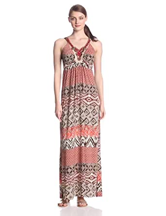 Sangria Women's Embellished Halter Maxi Printed Dress, Ivory/Brown, 6