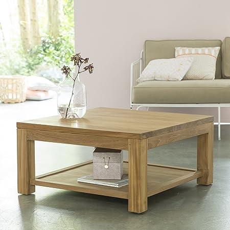 mesa baja de centro sofá auxiliar 80 x 80 cm madera teca sin tratar cuadrada eve