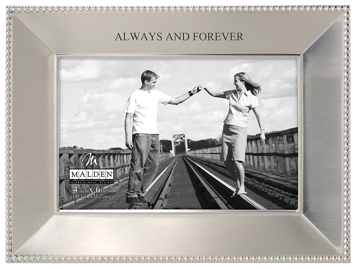 Malden Simply Stated Shiny Pewter Picture Frame, Always and Forever, 4 by 6-Inch – Single Frames
