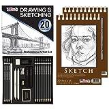 U.S. Art Supply 20 Piece Professional Hi-Quality Artist Sketch Set in Hard Storage Case - Sketch & Charcoal Pencils, Pastel, Stumps, Eraser, Sharpeners - Bonus (Pack of 2) -5.5