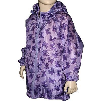 Kids Butterfly Pack Away Rain Mac Full Zip Jacket