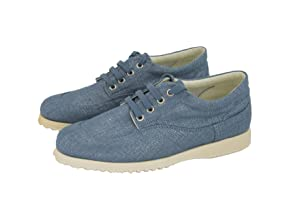 Hogan by TOD'S Easy Lace Up Denim Jeans Blue Canvas Sneakers Shoes US 7 / 37