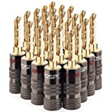 FosPower Banana Plugs 12 Pairs / 24 pcs, BFA 24K Gold Plated Banana Speaker Plug Connectors for Speaker Wire, Wall Plate, Home Theater, Audio/Video Receiver, Amplifiers and Sound Systems (Color: 12 Pairs, Tamaño: BFA)