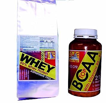 Kit bestehend aus Whey Protein Isolat und Hydrolyzed (750 gr Vanille-Aroma) und verzweigtkettigen Aminosäuren BCAA mit Vitamin B6 und B1 (100 Tabletten - 105 Gramm) angereichert