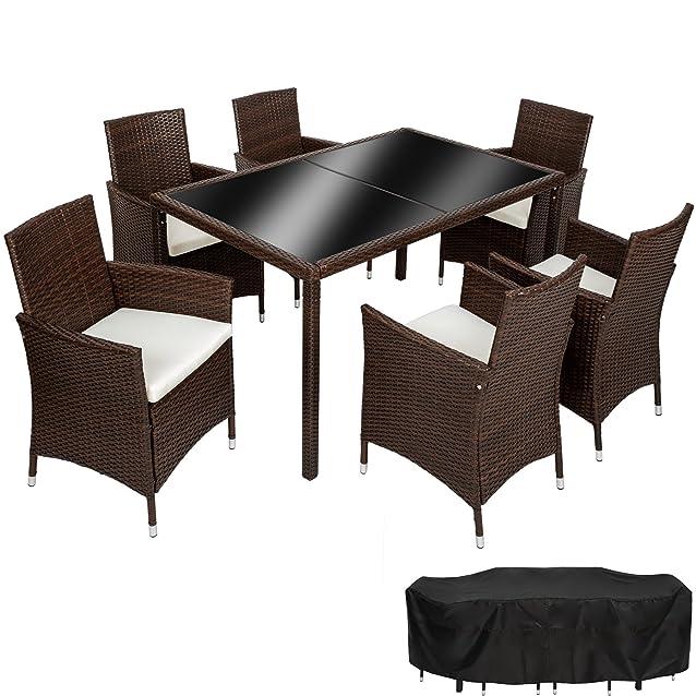 TecTake Set di mobili poli rattan set 6+1 arredamento giardino | involucro protettivo | viti in acciaio inox | mixed marrone