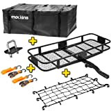 Mockins Hitch Mount Cargo Carrier with Cargo Bag and Net |The Steel Cargo Basket is 60 Long X 20 Wide X 6 Tall with A Hauling Weight of 500 Lbs & A Folding Shank to Preserve Space When Not in Use … … (Tamaño: Cargo Carrier With Cargo Bag & Net)