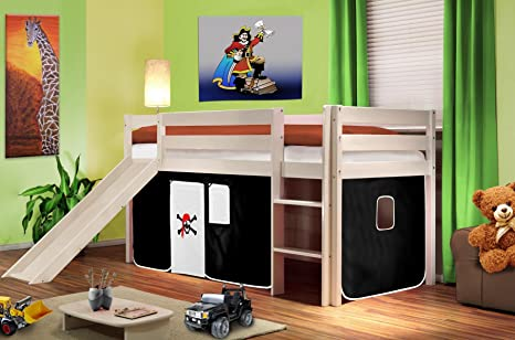hochbett kinderbett spielbett mit rutsche massiv kiefer wei. Black Bedroom Furniture Sets. Home Design Ideas