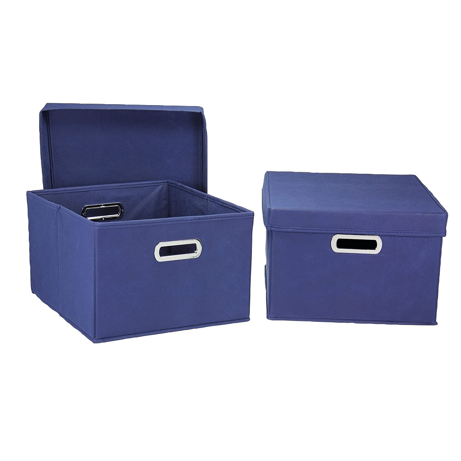 blue fabric storage boxes