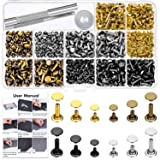 Leather Rivets Kit, Shynek 360 Sets Double Cap Brass Rivets Leather Studs with Setting Tools for Leather Repair and Crafts, 4 Colors and 3 Sizes (Color: Assorted Colors)