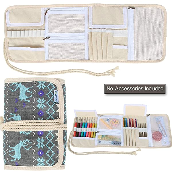Teamoy Crochet Hook Case, Canvas Roll Bag Holder Organizer for Various Crochet Needles and Knitting Accessories, Compact and All-in-one, Elk (Color: Elk, Tamaño: Canvas Crochet Hook Case)