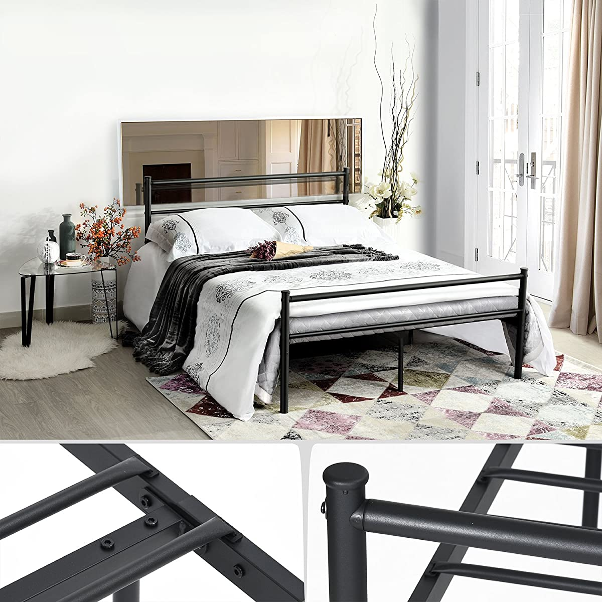 Metal Bed Frame Full Size, GreenForest Two Headboards 10 Legs Mattress Foundation Black Platform Bed Frame Box Spring Replacement for Boys Kids Adult B