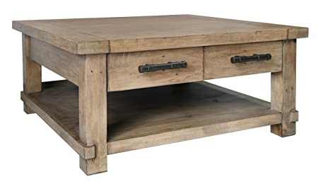 The Wood Times Couchtisch Massiv XXL Vintage Look Industrial Kiefernholz FSC Recycled, LxBxH 100x100x46 cm