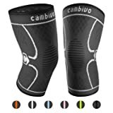 CAMBIVO 2 Pack Knee Brace, Knee Compression Sleeve Support for Running, Arthritis, ACL, Meniscus Tear, Sports, Joint Pain Relief and Injury Recovery (Medium, Black/Gray) (Color: NS10/Gray, Tamaño: Medium (17'' - 19''))