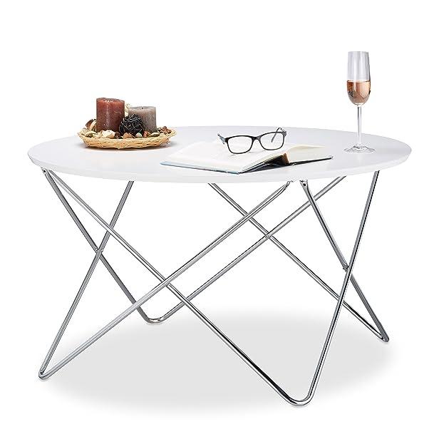 Relaxdays 10021273_723 Tavolino Salotto, Legno, Bianco, 90 x 90 x 50 cm