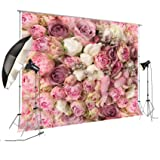 8x8ft Rose Floral Wall Wedding Photography Backdrop Studio Pink Flowers Photo Backdrops FD-8059 (Color: 8X8FT-FD-8059)