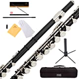 Mendini Black Closed Hole C Flute with Stand, 1 Year Warranty, Case, Cleaning Rod, Cloth, Joint Grease, and Gloves - MFE-BK+SD+PB