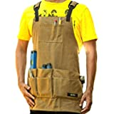 WirtaWork Woodworking Aprons for men and women - Durable Tool Apron with 11 pockets and 2 hammer loop - Comfortable 16oz Waxed Canvas Work Apron protects you from water to sparks.(Brown) (Color: Brown)
