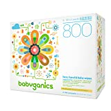 Babyganics Fragrance-Free Face, Hand and Baby Wipes, 800 wipes, Packaging May Vary (Tamaño: 800 Count)
