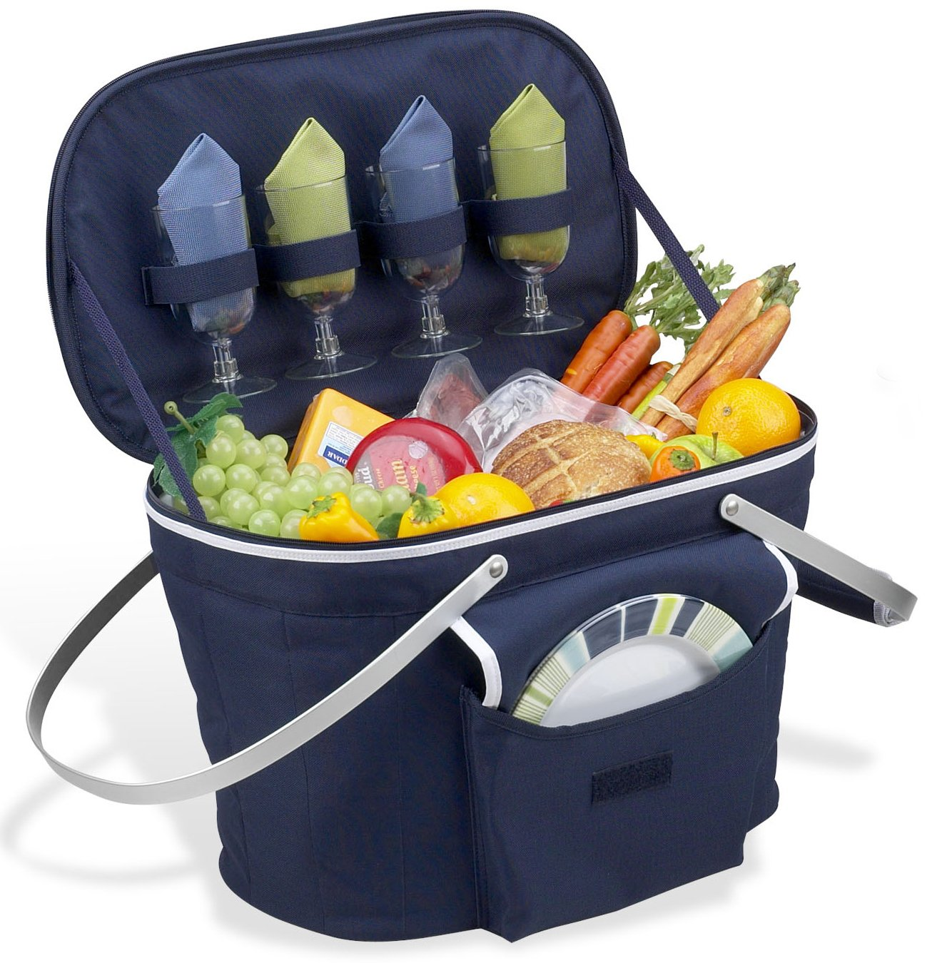 Picnic At Ascot Collapsible Insulated Picnic Basket For 4 : Picnic at ascot collapsible insulated basket for
