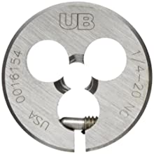 "Union Butterfield 2010(UNC) Carbon Steel Round Threading Die, Uncoated (Bright) Finish, 1"" OD, 1/4""-20 Thread Size"