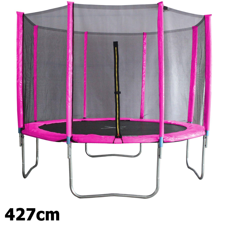 Premium Trampolin neonpink 183 244 305 366 427cm mit Netz Sicherheitsnetz Gartentrampolin für Kinder günstig bestellen