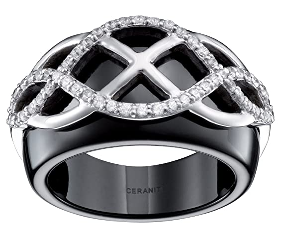 Ceranity Arabesque Women's Ring Sterling Silver 925 3,21 g Ceramic Black / White Cubic Zirconia 0067-1-12 / N