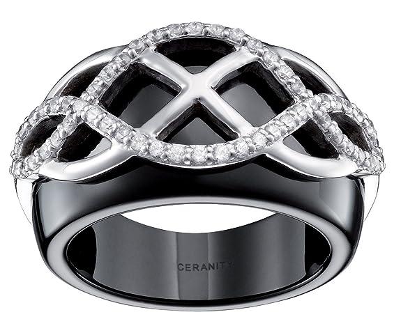 Ceranity Arabesque Women's Ring Sterling Silver 925 3,21 g Ceramic Black / White Cubic Zirconia 0067-1-12 / N