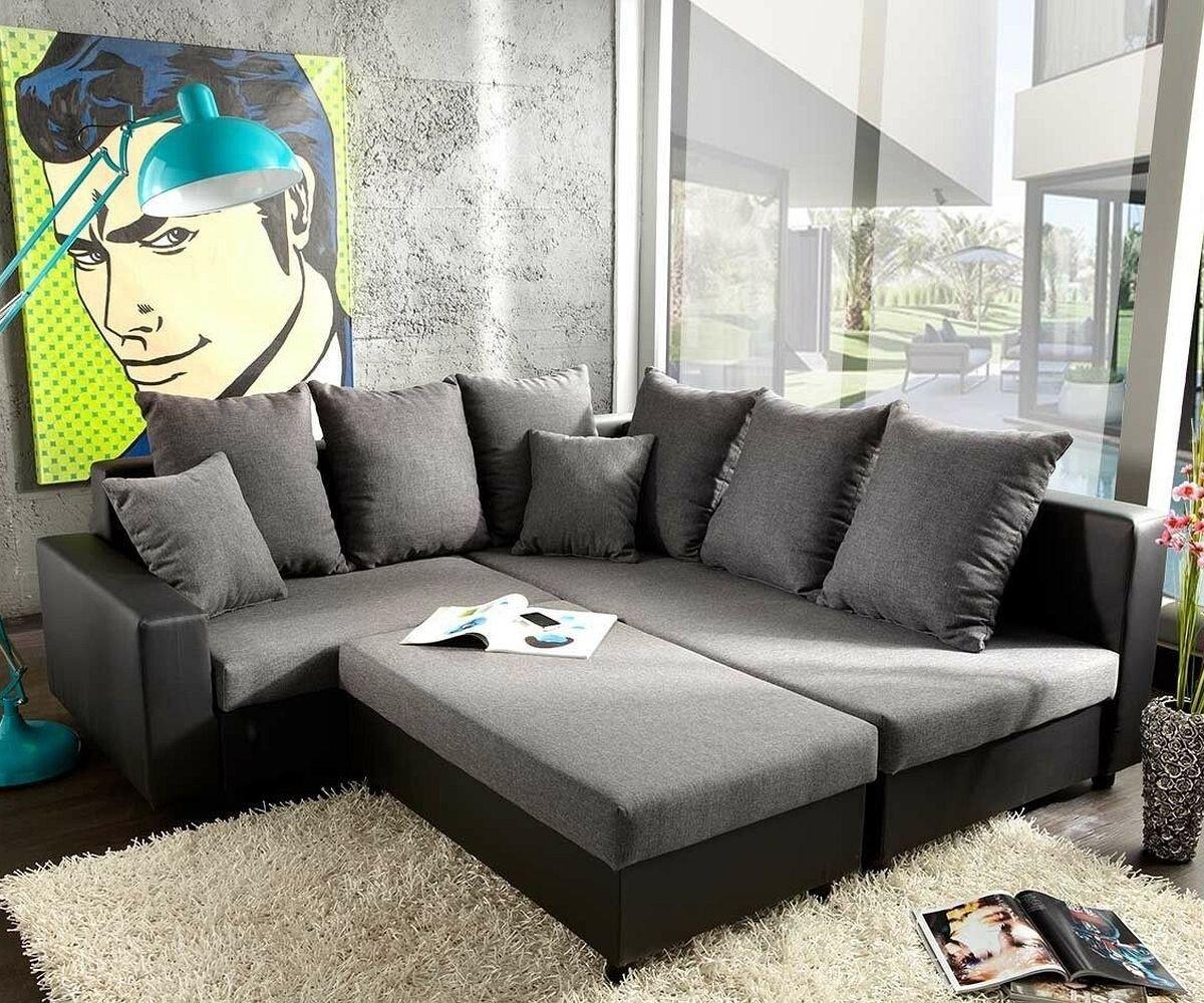 Couch Lavello Grau Schwarz 210x210 cm Sofa mit Sitzhocker  Kundenbewertung: