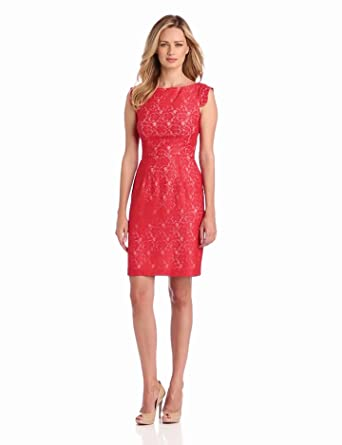 Ivy & Blu Women's V-Back Exposed Zipper Lace Sheath Dress, Red Light, 10